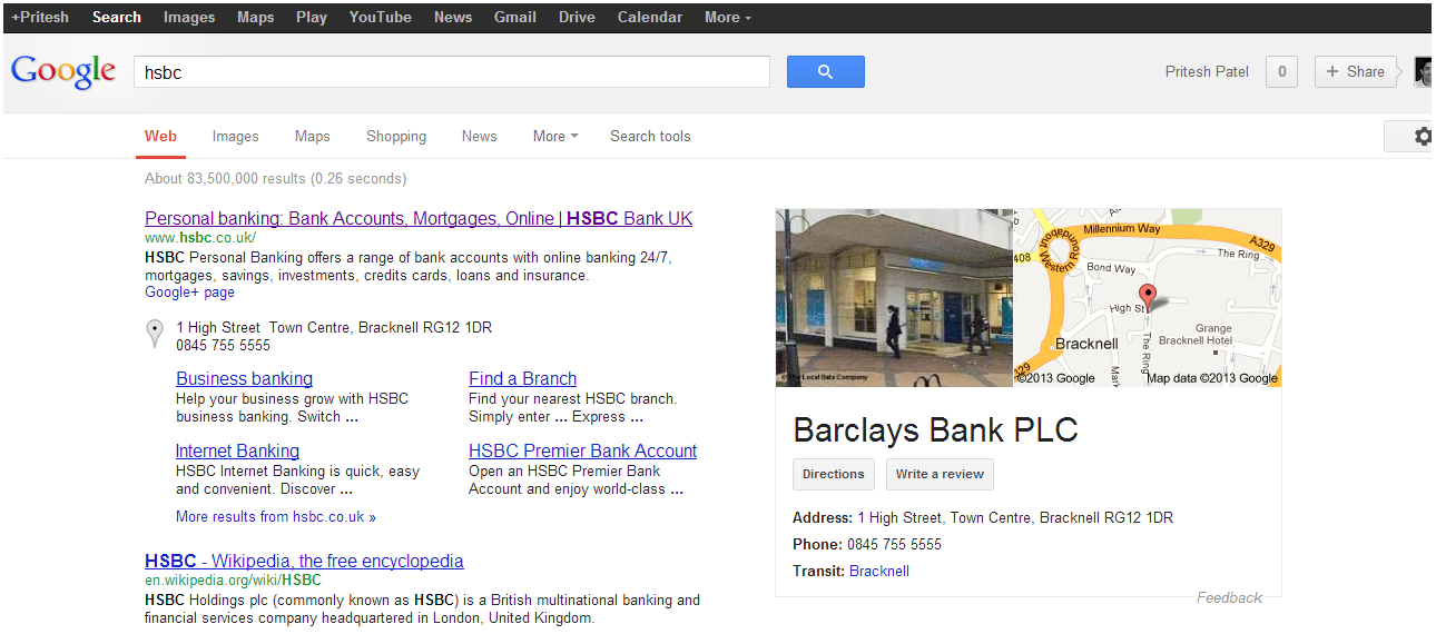 hsbc barclays search Barclays Hijacking HSBC Local Search?