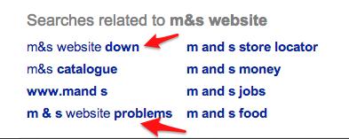 google auto suggest m&s website problems