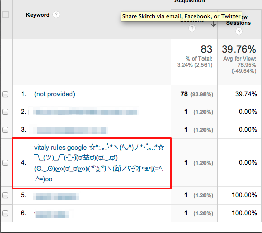 keyword spam in google analytics