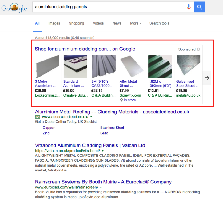 google shopping feed building products